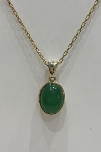 Green Jade Yellow Gold Oval Rubbed Over Necklace